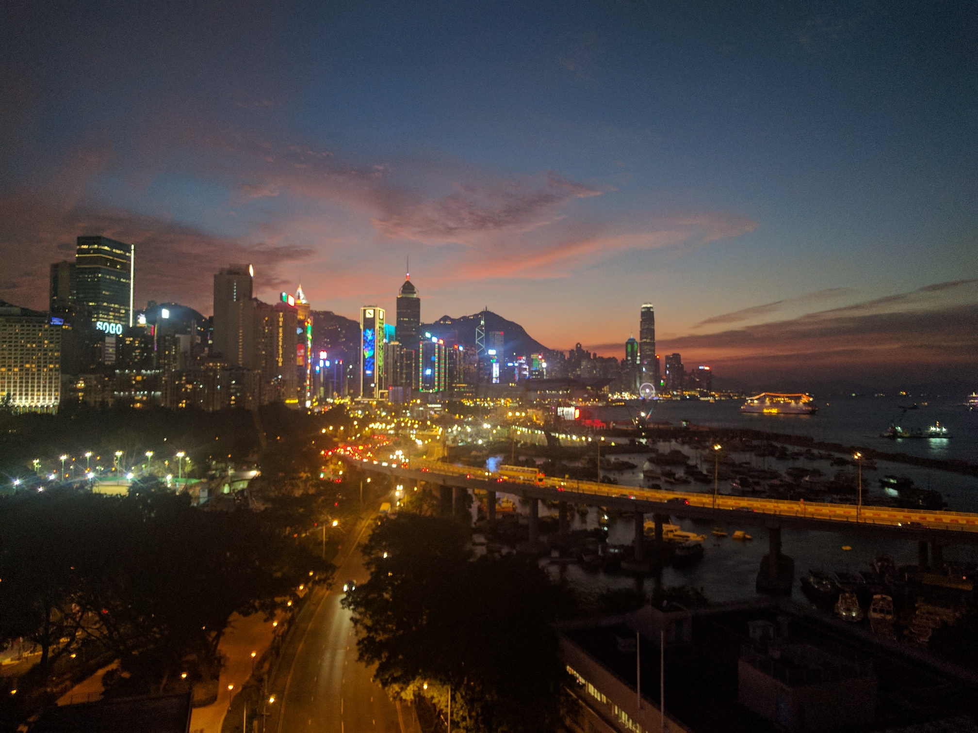 And as the sun fades the LEDs rise creating a beautiful Lightrise over Hong Kong Harbour