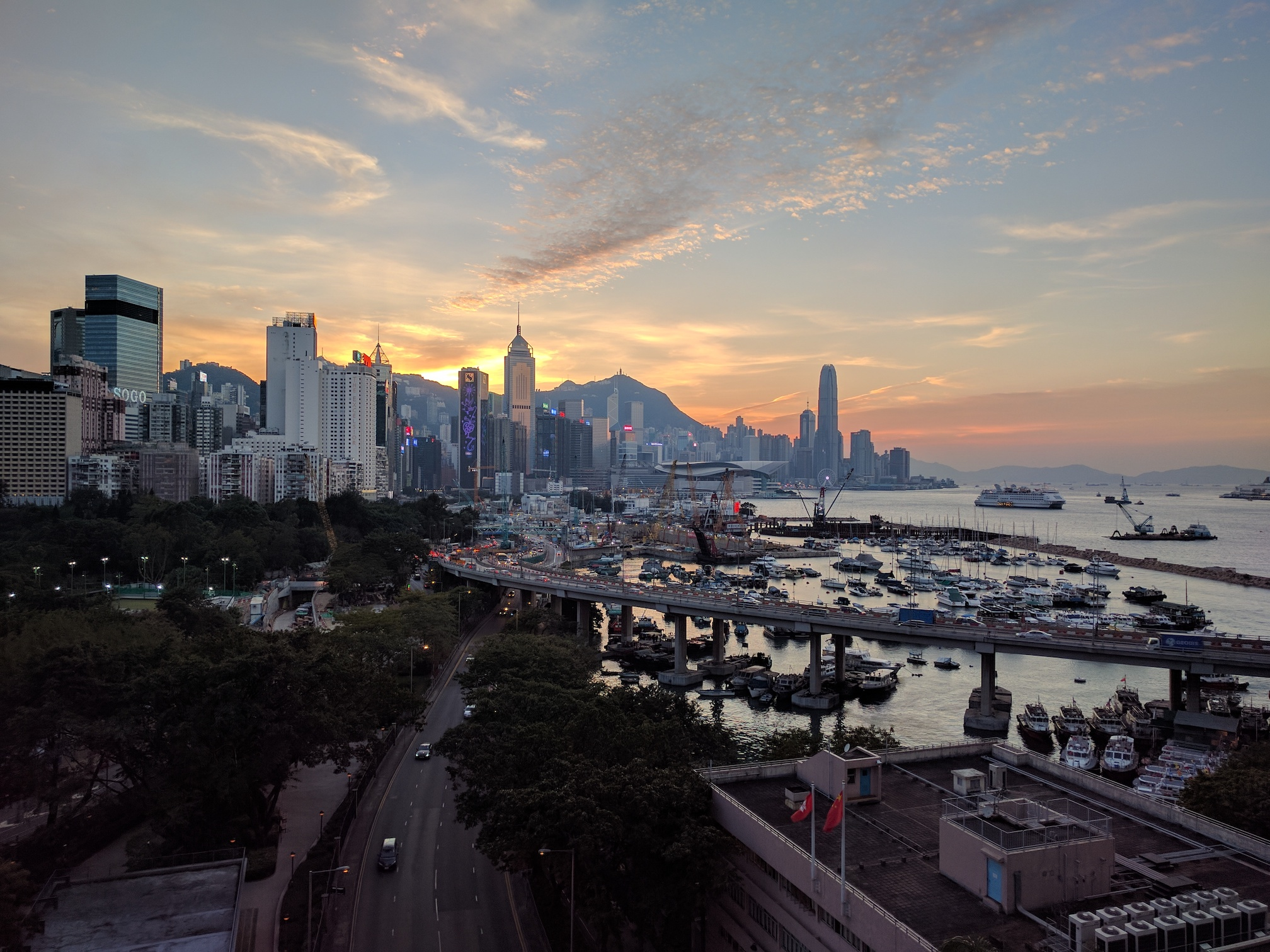 Finishing the day with a beautiful Sunset over Hong Kong Harbour
