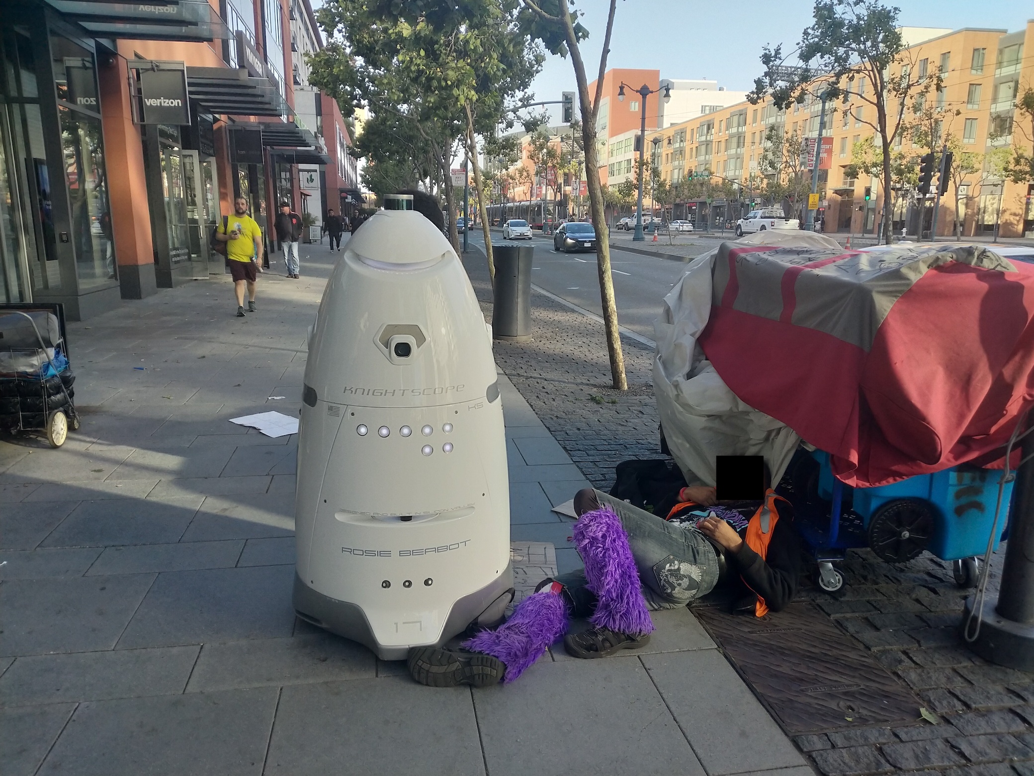 Met a mean robot that hassles homeless people
