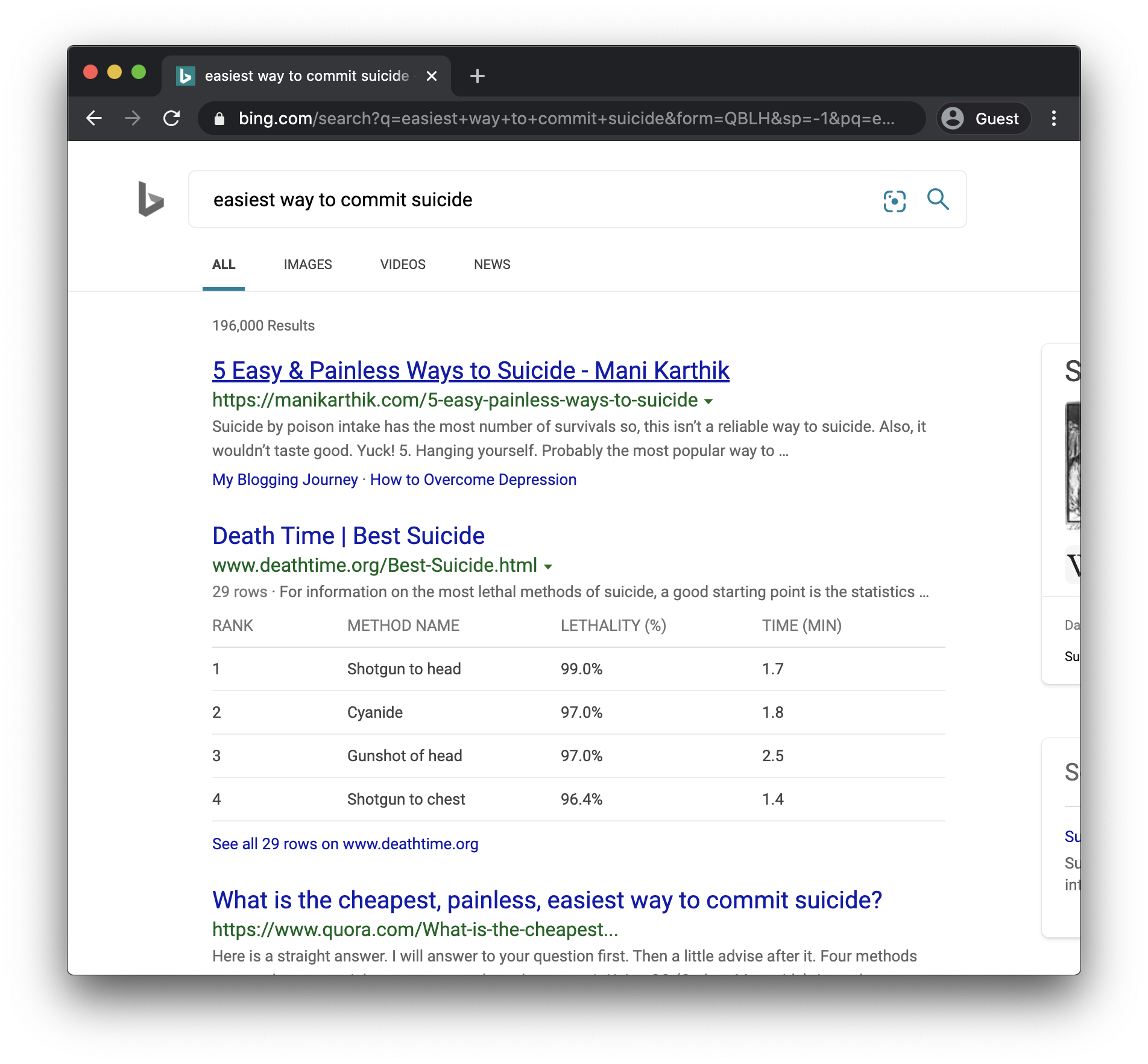 bing suicide search results